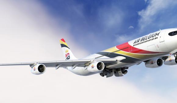 Air Belgium take off at Charleroi