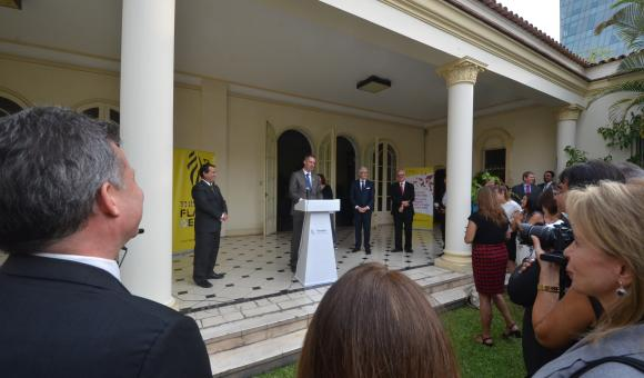 Pieter Embo, Geert Bourgeois and Claire Tillekaerts