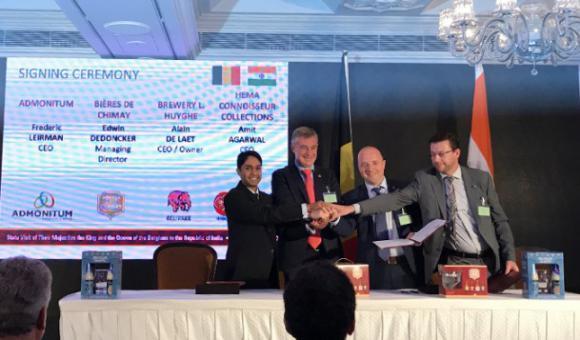 Cérémonie de l'accord entre Chimay, Huyghe et leur distributeur indien.