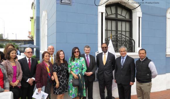 Inauguration de la nouvelle plaque Plazuela Bélgica (réalisée en Belgique sur normes Bruxelloises) en placée à Lima