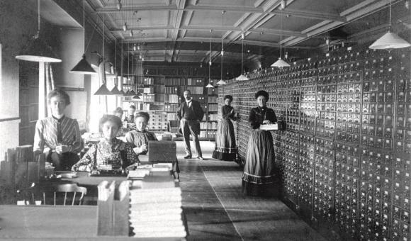 L'équipe de travail de l'Institut International de Bibliographie vers 1900