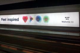 Wallonia.be dans le travelling tunnel à l'aéroport de Bruxelles National